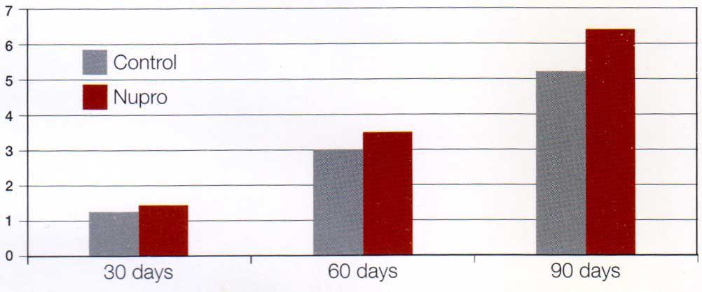 تاثیر Nupro بر میزان وزنگیری ماهی سالمون