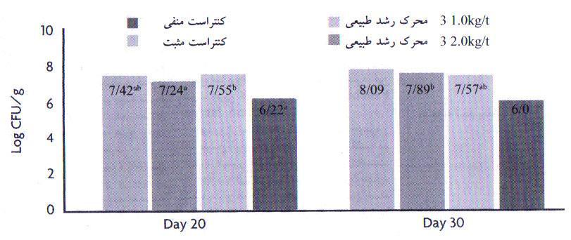 جمعیت E.Coli در دستگاه گوارش در روزهای 20 و 30 در گروههای منفی، مثبت و واجد محرک رشد