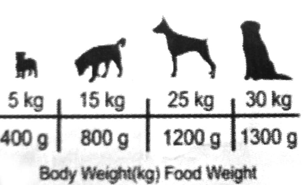 مقدار مصرف بر اساس وزن سگ